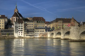 Mittlere Bridge and Basel waterfront, Switzerland